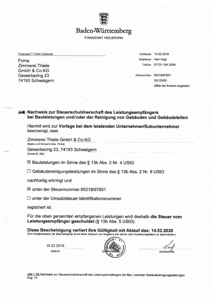 Nachweis zur Steuerschuldnerschaft des Leistungsempfängers bei Bauleistungen im Sinne des § 13b Abs. 2 Nr. 8 UStG
